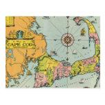 Mapa del vintage de Cape Cod Tarjeta Postal
