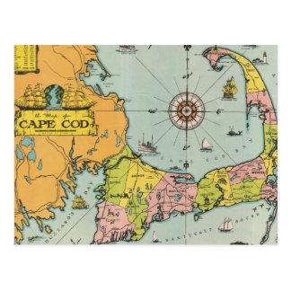 Mapa del vintage de Cape Cod Tarjetas Postales