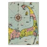 Mapa del vintage de Cape Cod Tarjeton