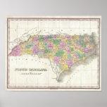 Mapa del vintage de Carolina del Norte (1827) Impresiones