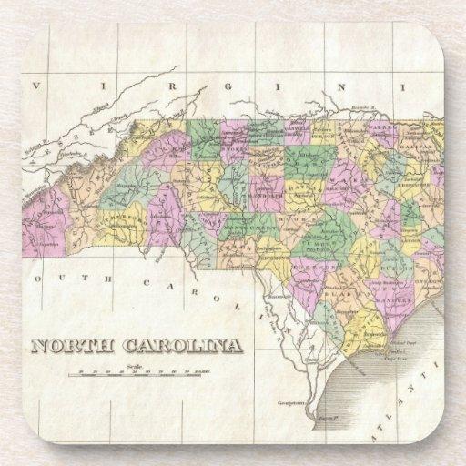 Mapa del vintage de Carolina del Norte (1827) Posavasos De Bebidas
