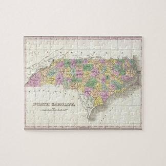 Mapa del vintage de Carolina del Norte (1827) Puzzle