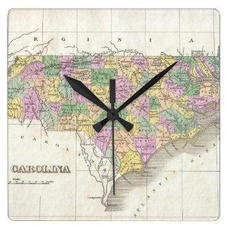 Mapa del vintage de Carolina del Norte (1827) Relojes