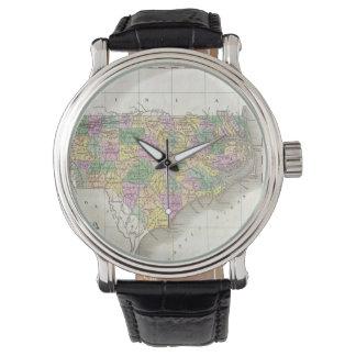 Mapa del vintage de Carolina del Norte (1827) Relojes De Pulsera