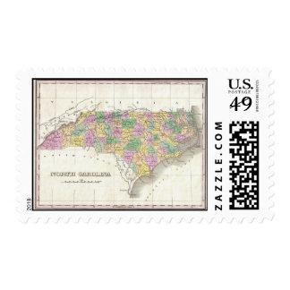 Mapa del vintage de Carolina del Norte (1827) Sellos