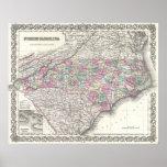 Mapa del vintage de Carolina del Norte (1855) Posters