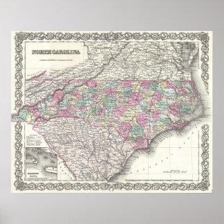 Mapa del vintage de Carolina del Norte (1855) Póster