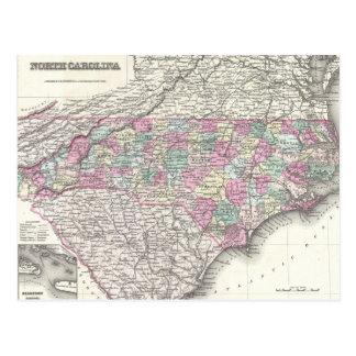 Mapa del vintage de Carolina del Norte (1855) Postales