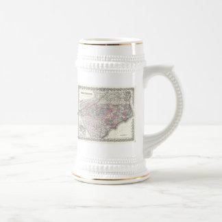 Mapa del vintage de Carolina del Norte 1855 Tazas De Café