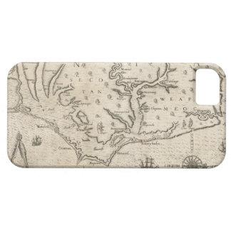 Mapa del vintage de Carolina del Norte costera 15 iPhone 5 Case-Mate Protectores