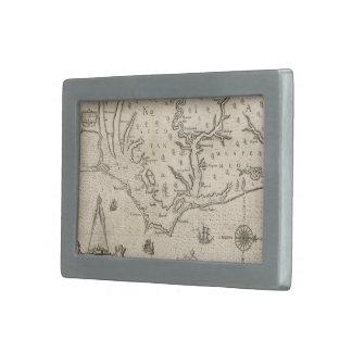 Mapa del vintage de Carolina del Norte costera 15 Hebillas Cinturon