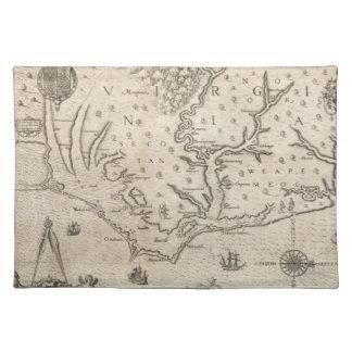 Mapa del vintage de Carolina del Norte costera 15 Manteles