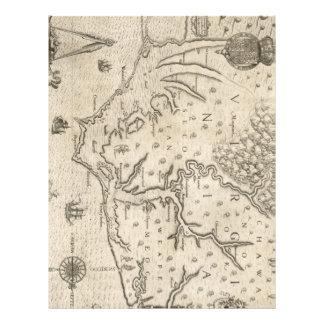 Mapa del vintage de Carolina del Norte costera 15 Plantilla De Membrete