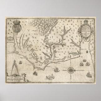 Mapa del vintage de Carolina del Norte costera 15 Poster