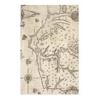 Mapa del vintage de Carolina del Norte costera 15 Papeleria Personalizada