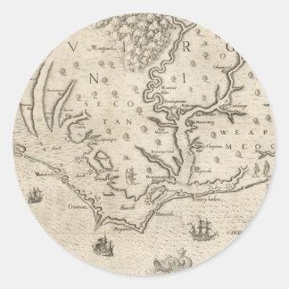 Mapa del vintage de Carolina del Norte costera 15 Pegatinas Redondas