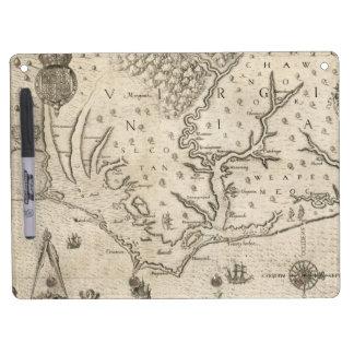 Mapa del vintage de Carolina del Norte costera 15 Pizarras Blancas