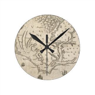 Mapa del vintage de Carolina del Norte costera 15 Reloj