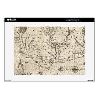 Mapa del vintage de Carolina del Norte costera 15 38,1cm Portátil Calcomanía