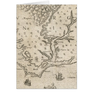 Mapa del vintage de Carolina del Norte costera (15 Tarjeton