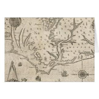 Mapa del vintage de Carolina del Norte costera (15 Felicitacion