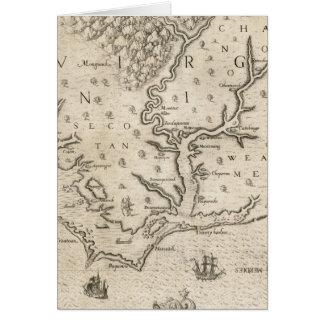 Mapa del vintage de Carolina del Norte costera (15 Tarjeta De Felicitación