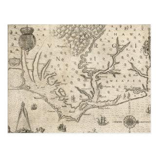 Mapa del vintage de Carolina del Norte costera 15 Tarjeta Postal