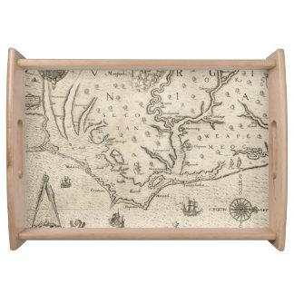Mapa del vintage de Carolina del Norte costera Bandejas