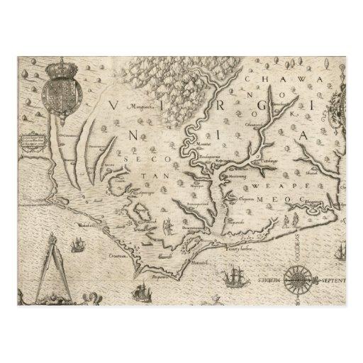 Mapa del vintage de Carolina del Norte costera Postal