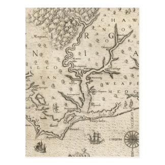 Mapa del vintage de Carolina del Norte costera Postales