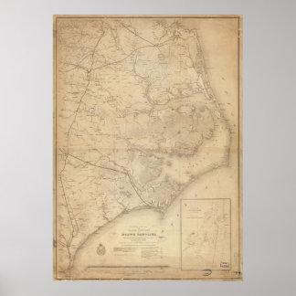 Mapa del vintage de Carolina del Norte del este Póster