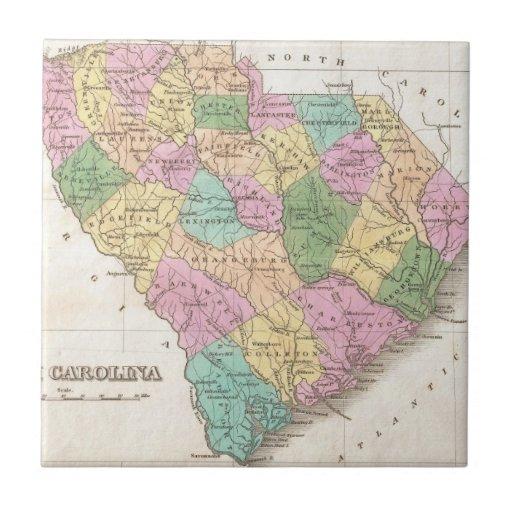Mapa del vintage de Carolina del Sur (1827) Azulejo Cuadrado Pequeño