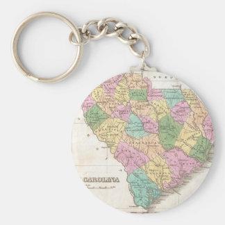 Mapa del vintage de Carolina del Sur (1827) Llavero Redondo Tipo Pin