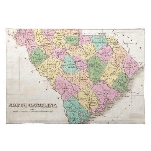 Mapa del vintage de Carolina del Sur (1827) Manteles
