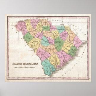 Mapa del vintage de Carolina del Sur (1827) Póster