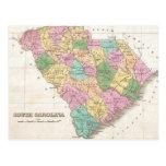 Mapa del vintage de Carolina del Sur (1827) Postales