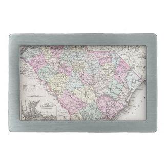 Mapa del vintage de Carolina del Sur (1855) Hebillas De Cinturon