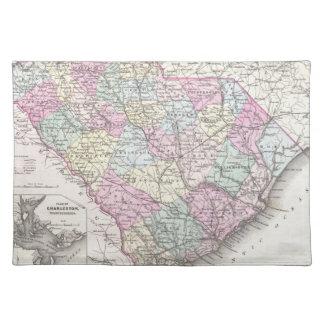 Mapa del vintage de Carolina del Sur (1855) Manteles Individuales
