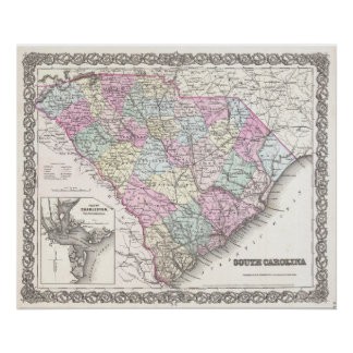Mapa del vintage de Carolina del Sur (1855) Posters