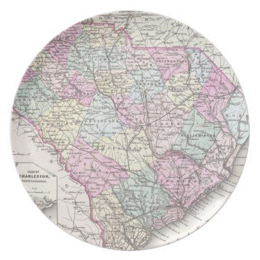 Mapa del vintage de Carolina del Sur (1855) Plato De Comida