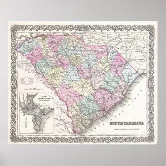 Mapa del vintage de Carolina del Sur (1855) Póster