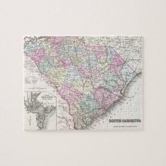Mapa del vintage de Carolina del Sur (1855) Rompecabezas