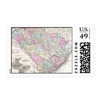Mapa del vintage de Carolina del Sur (1855) Franqueo