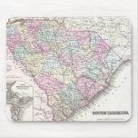 Mapa del vintage de Carolina del Sur (1855) Tapete De Ratón