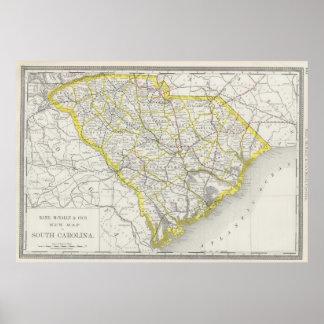 Mapa del vintage de Carolina del Sur (1889) Impresiones