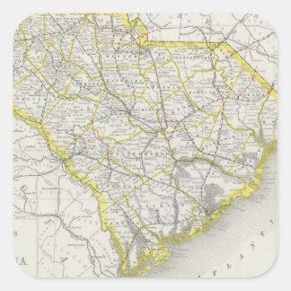 Mapa del vintage de Carolina del Sur (1889) Calcomanias Cuadradas
