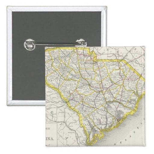 Mapa del vintage de Carolina del Sur (1889) Pin