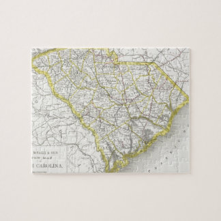 Mapa del vintage de Carolina del Sur (1889) Puzzles Con Fotos