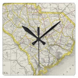 Mapa del vintage de Carolina del Sur (1889) Reloj De Pared