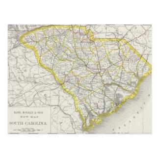 Mapa del vintage de Carolina del Sur (1889) Tarjeta Postal